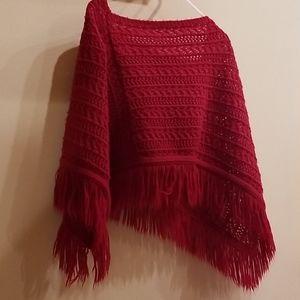 Girls red poncho